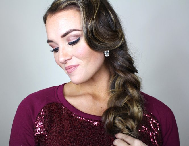 retro hairstyle with waves and a braid, classic updo hairstyle