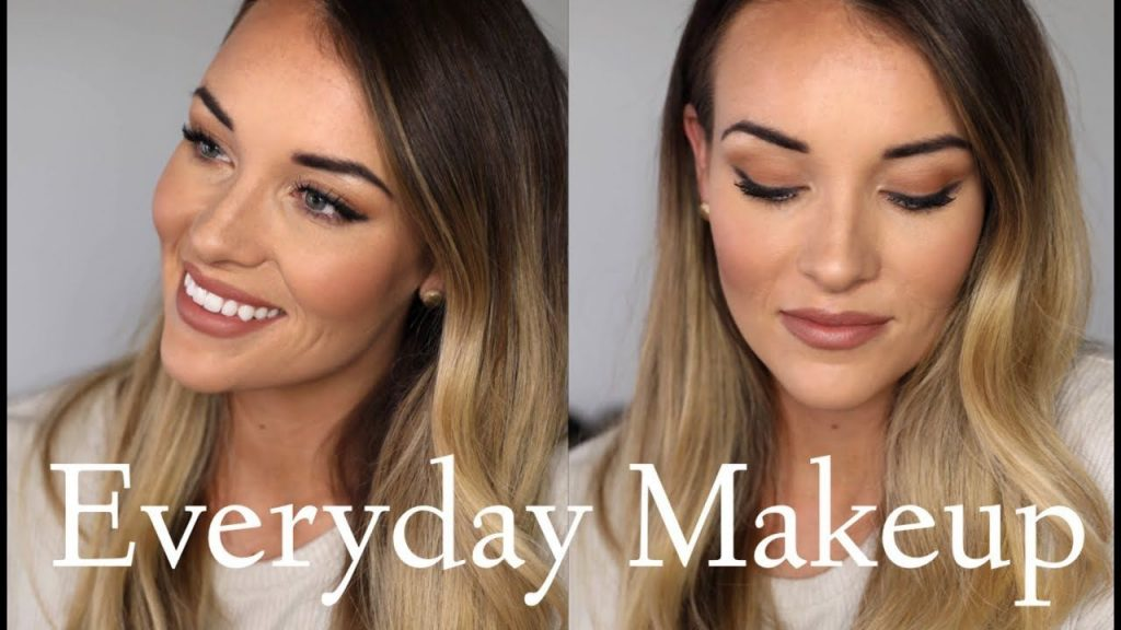 everyday makeup with neutral eyeshadow colors and blushes